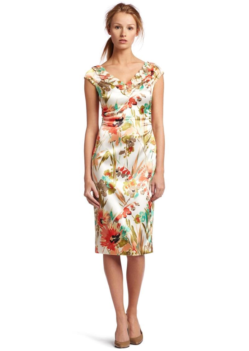 Maggy London Women's Ruffle V Neck Dress