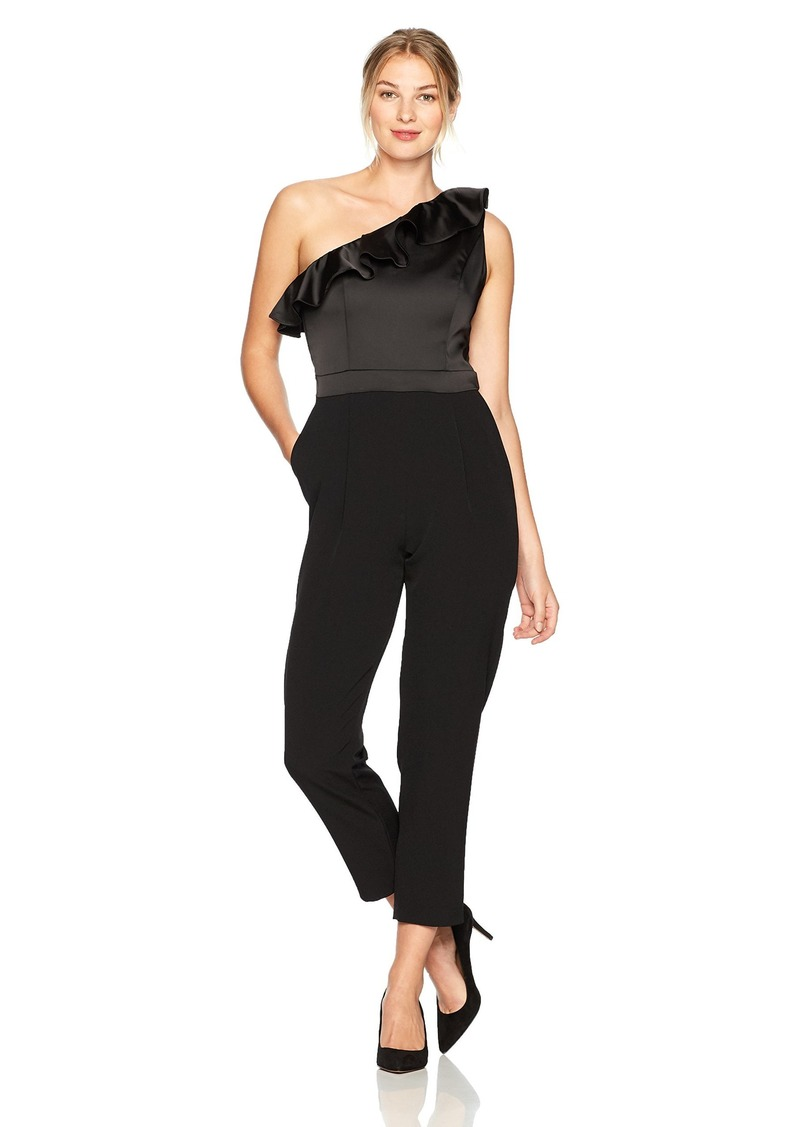 3abae5994304 Maggy London Maggy London Women s Satin and Crepe One Shoulder Jumpsuit