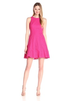 Maggy London Women's Sea Pebble Eyelet Fit and Flare Dress