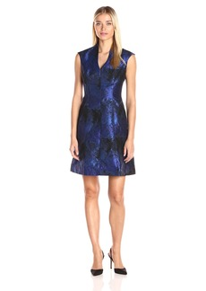 Maggy London Women's Shadow Abstract Deep V-Neck Fit and Flare