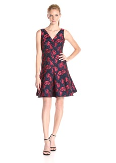 Maggy London Women's Shadow Floral Jacquard Deep V-Neck Fit and Flare