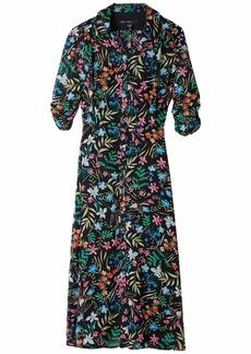 Maggy London Women's Sheer Shirt Midi Dress