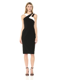 Maggy London Women's Sleeveless Color Block Crepe Cocktail Shea Black/Ivory