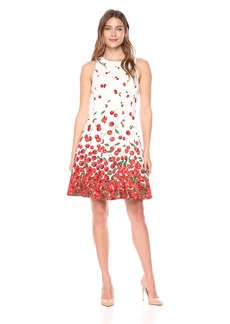 Maggy London Women's Sleeveless Scoop Fit & Flare Dress Soft White/red
