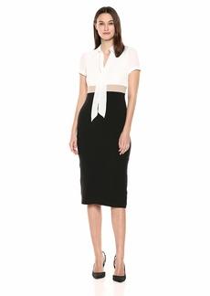 Maggy London Women's Solid Crepe Color Block Short Sleeve Sheath Ivory/tan/Black