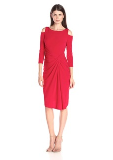 Maggy London Women's Solid Jersey Dress with Cold Shoulder
