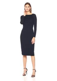 Maggy London Women's Solid Novelty Crepe Sheath with Sleeve