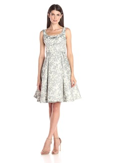 Maggy London Women's Spring Floral Brocade Fit-and-Flare Dress