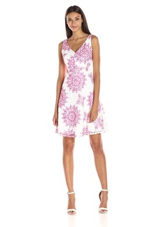 Maggy London Women's Star Medallion Printed Lace Fit and Flare