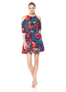 Maggy London Women's Stem Peony Novelty Fit and Flare with Cold Shoulder
