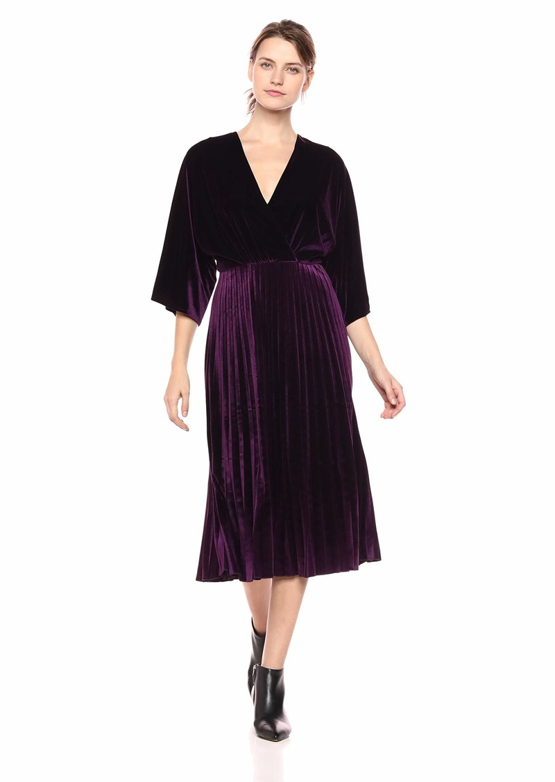 Maggy London Women's Stretch Velvet fit and Flare with Pleated Skirt