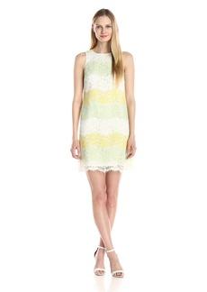 Maggy London Women's Stripe Lace Sleeveless Shift Dress