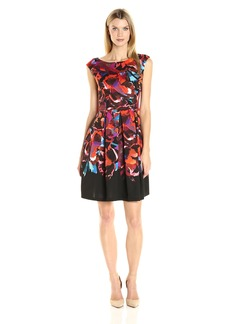 Maggy London Women's Techno Blossom Scuba Fit and Flare