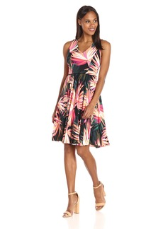 Maggy London Women's Techno Palm Jersey Pleated Fit and Flare