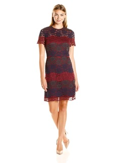 Maggy London Women's Tri Color Lace Fit and Flare