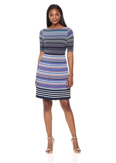 Maggy London Women's Twin Basket Printed Jersey Fit and Flare