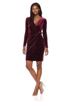 Maggy London Women's Velvet Faux Wrap Dress