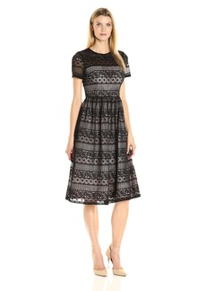 Maggy London Women's Victorian Stripe Lace Fit and Flare