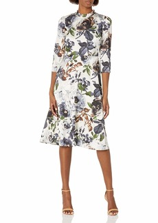 Maggy London Women's Winter Rose Print Ruffle Neck 3/4 Sleeve fit and Flare Dress