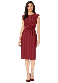 Maggy London Matte Shine Stripe Faux Wrap Sheath Dress