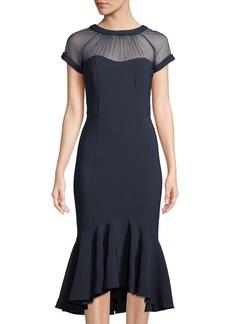 Maggy London Midi Illusion Flounce Dress