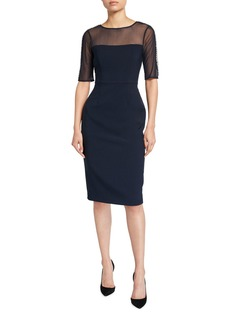 Maggy London Midi Sheath Dress With Illusion Neckline