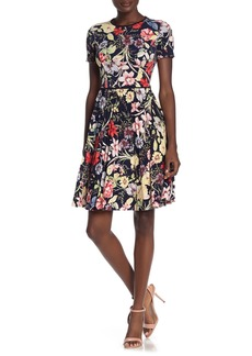Maggy London Midnight Botanical Floral Print Pleated Dress