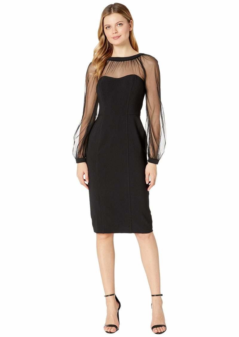 Maggy London Mystic Crepe Cocktail Sheath with Mesh Illusion Sleeve