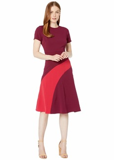 Maggy London Mystic Crepe Color Block Fit and Flare Dress