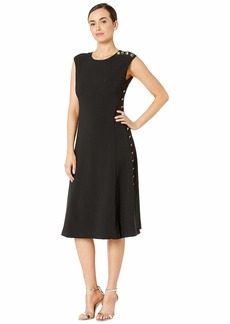 Maggy London Mystic Crepe Fit and Flare Dress with Side Button Detail