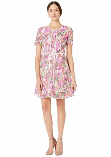Maggy London Paint Brush Garden Printed Cotton Eyelet Short Sleeve Fit and Flare