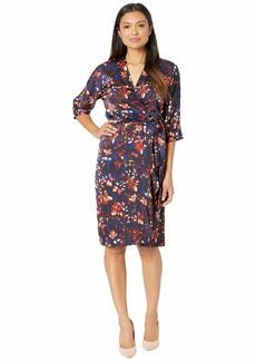 cd12ec6a Maggy London Painted Bloom Printed Charmeuse Wrap Dress with Side Cascade