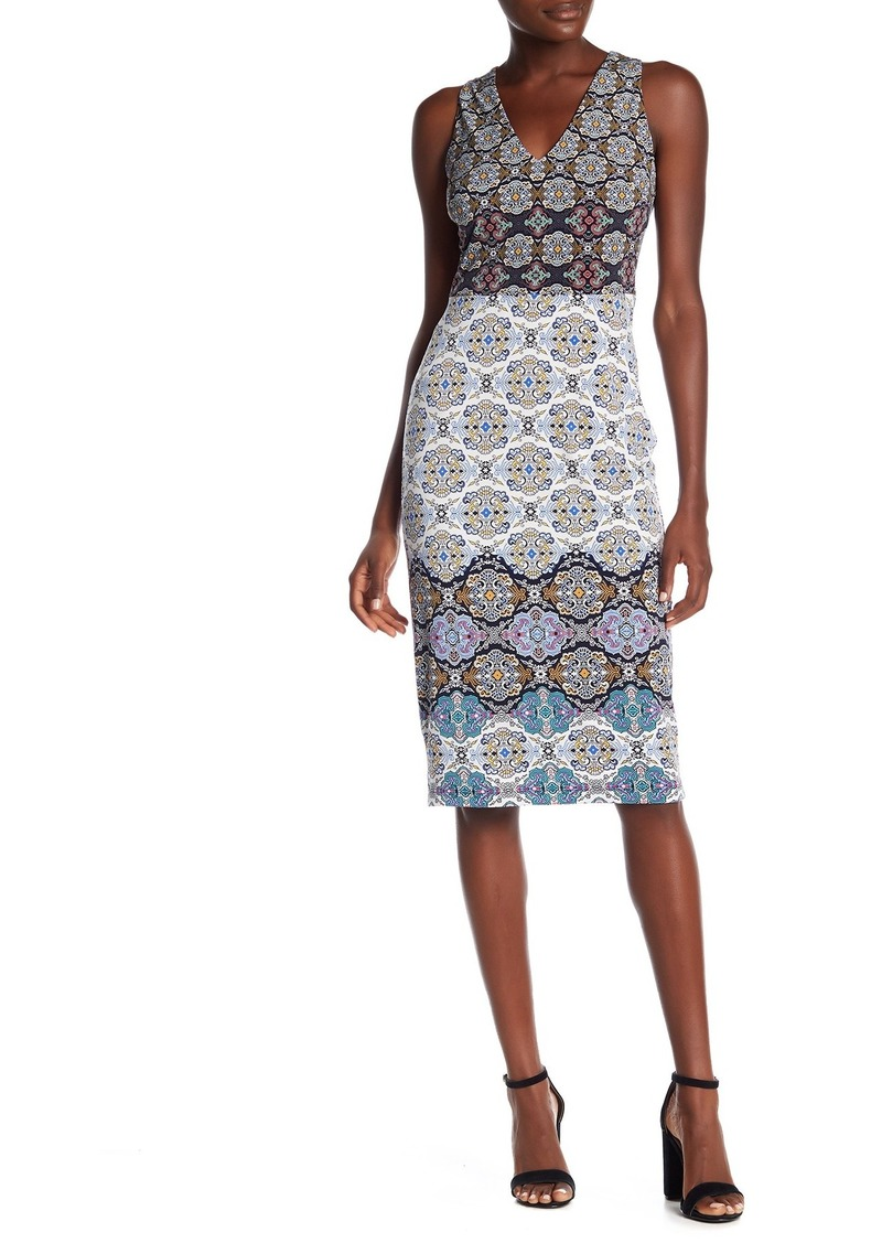 Maggy London Patterned V-Neck Midi Dress