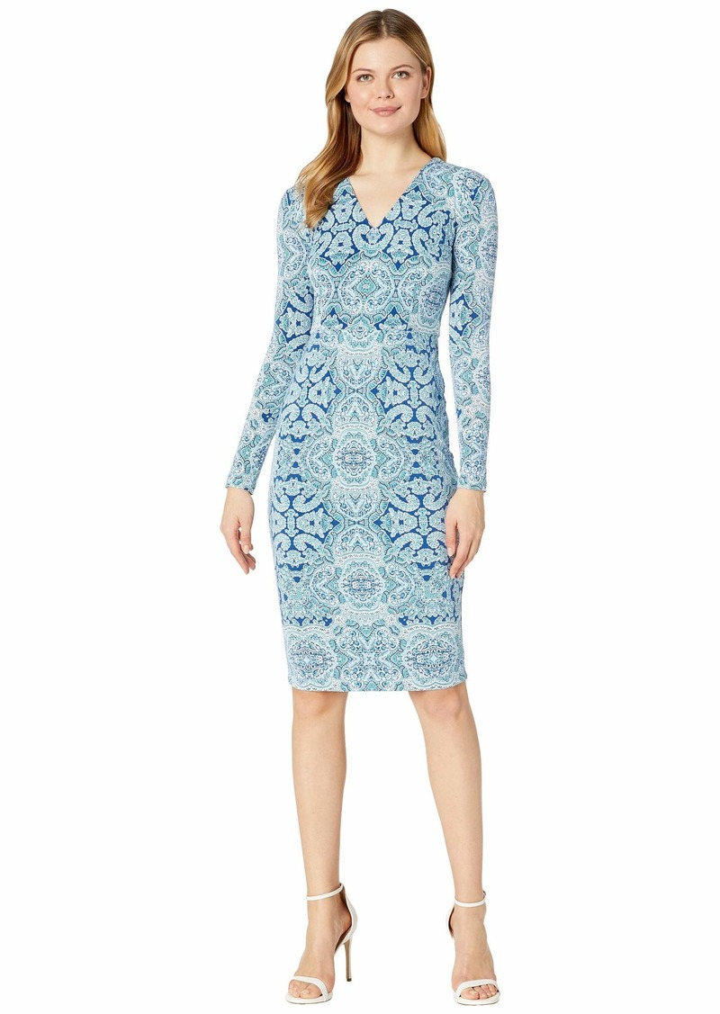Maggy London Placed Paisley Jersey Sheath