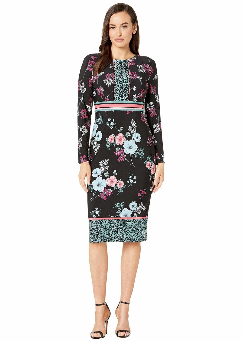 Maggy London Placed Pebble Blossom Jersey Sheath Dress