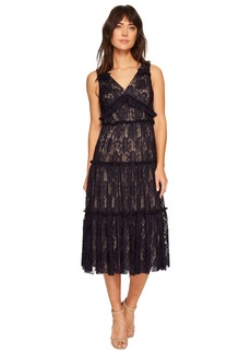 Maggy London Pleat Medallion Lace Tiered Cocktail Dress