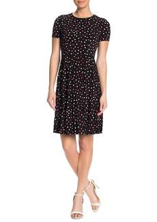 Maggy London Polka Dot Short Sleeve Pleated Dress