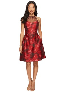 Maggy London Poppy Jacquard Halter Fit & Flare Dress