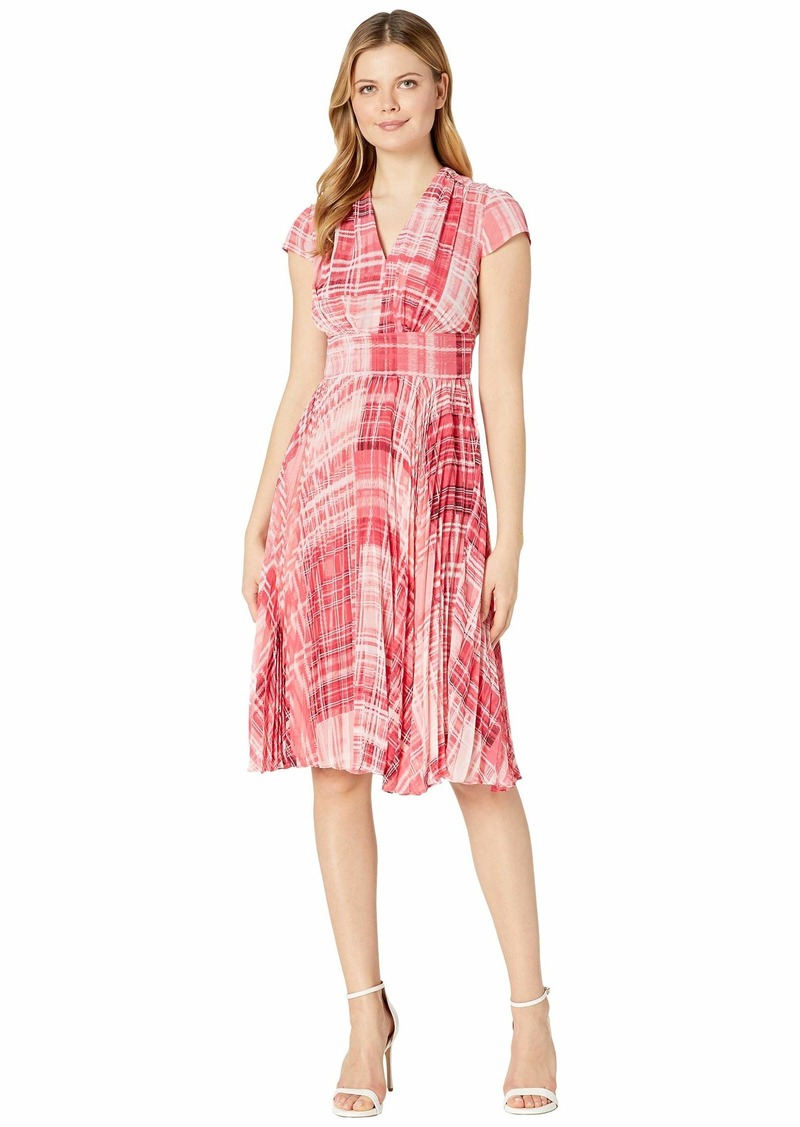 Maggy London Primavera Plaid Printed Chiffon Fit-and-Flare