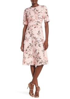 Maggy London Printed Ruche Fit & Flare Midi Dress (Regular & Plus Size)