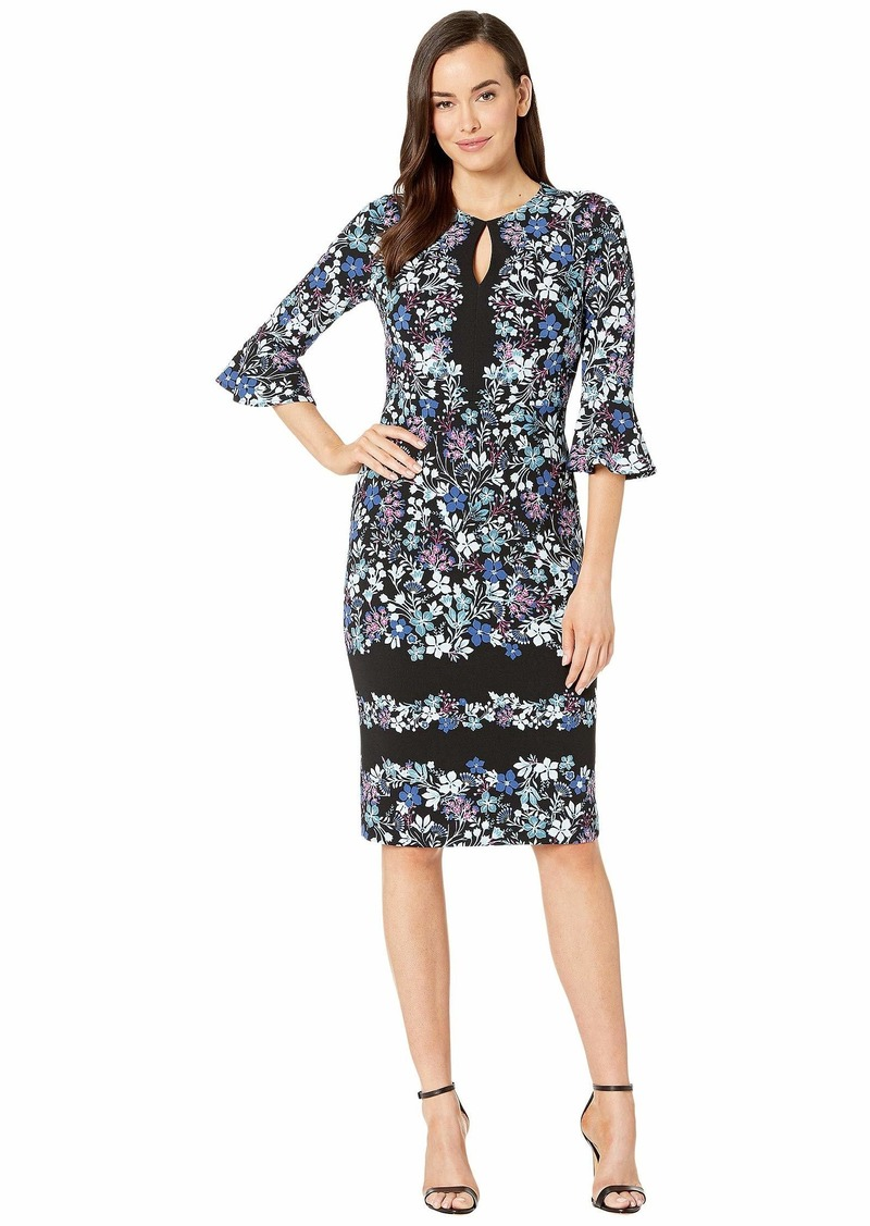 Maggy London Printed Texture Sheath Dress with Ruffle Sleeve
