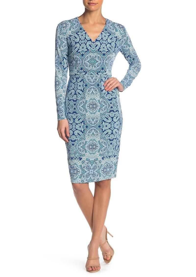 Maggy London Printed V-Neck Sheath Midi Dress (Petite)