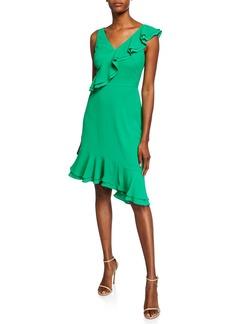 Maggy London Ruffle Asymmetric A-Line Dress