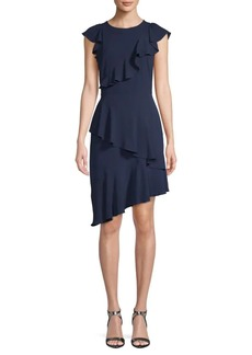Maggy London Ruffled Asymmetrical Sheath Dress