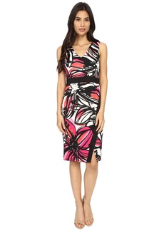 Maggy London Scribble Daisy Printed Scuba Sheath w/ Scissor Skirt