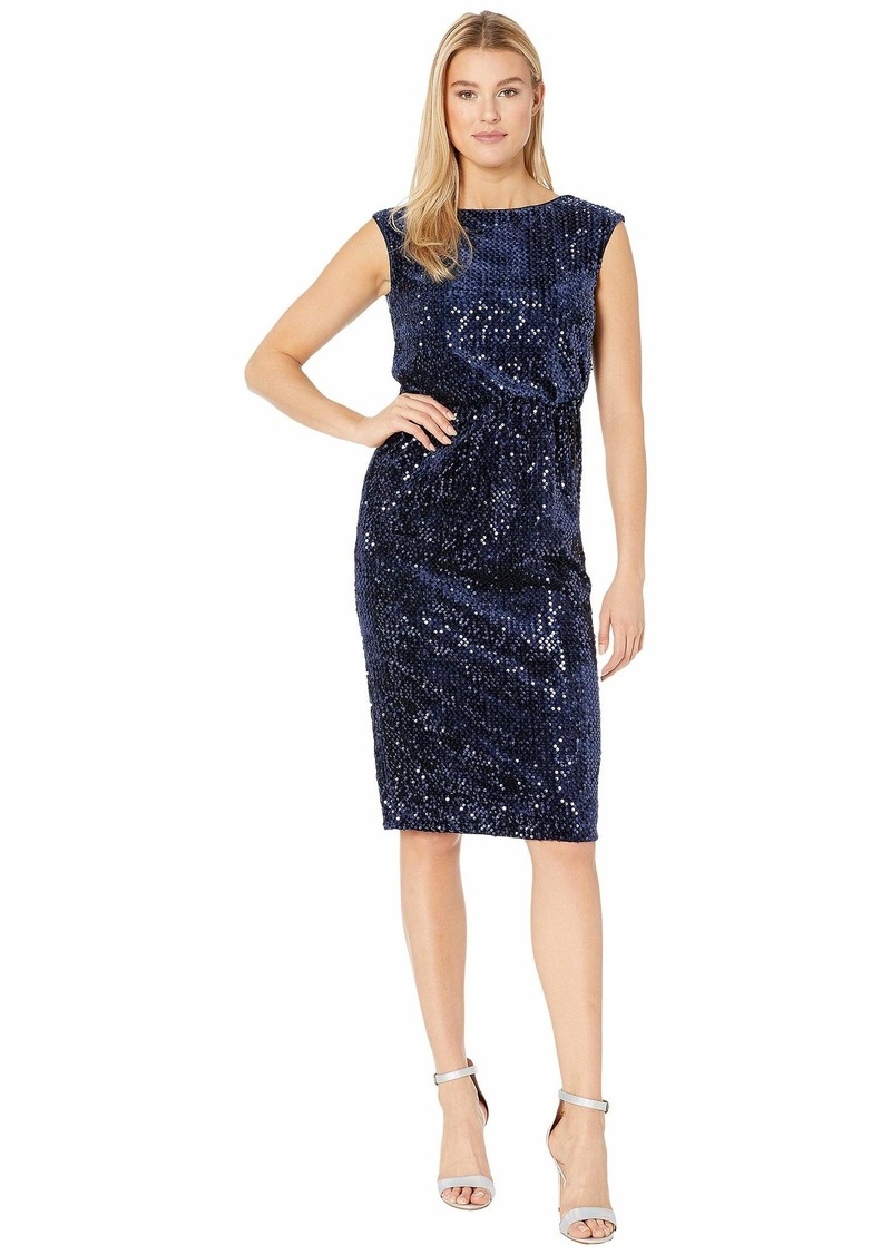 Maggy London Sequin Velvet Sheath Dress