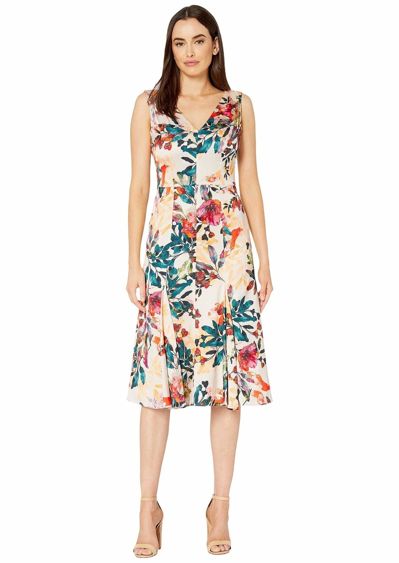 Maggy London Shadow Branch Flower Printed Charmeuse Fit and Flare Dress