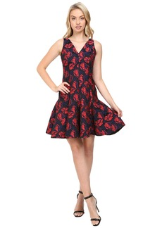 Maggy London Shadow Floral Jacquard Deep V-Neck Fit and Flare Dress