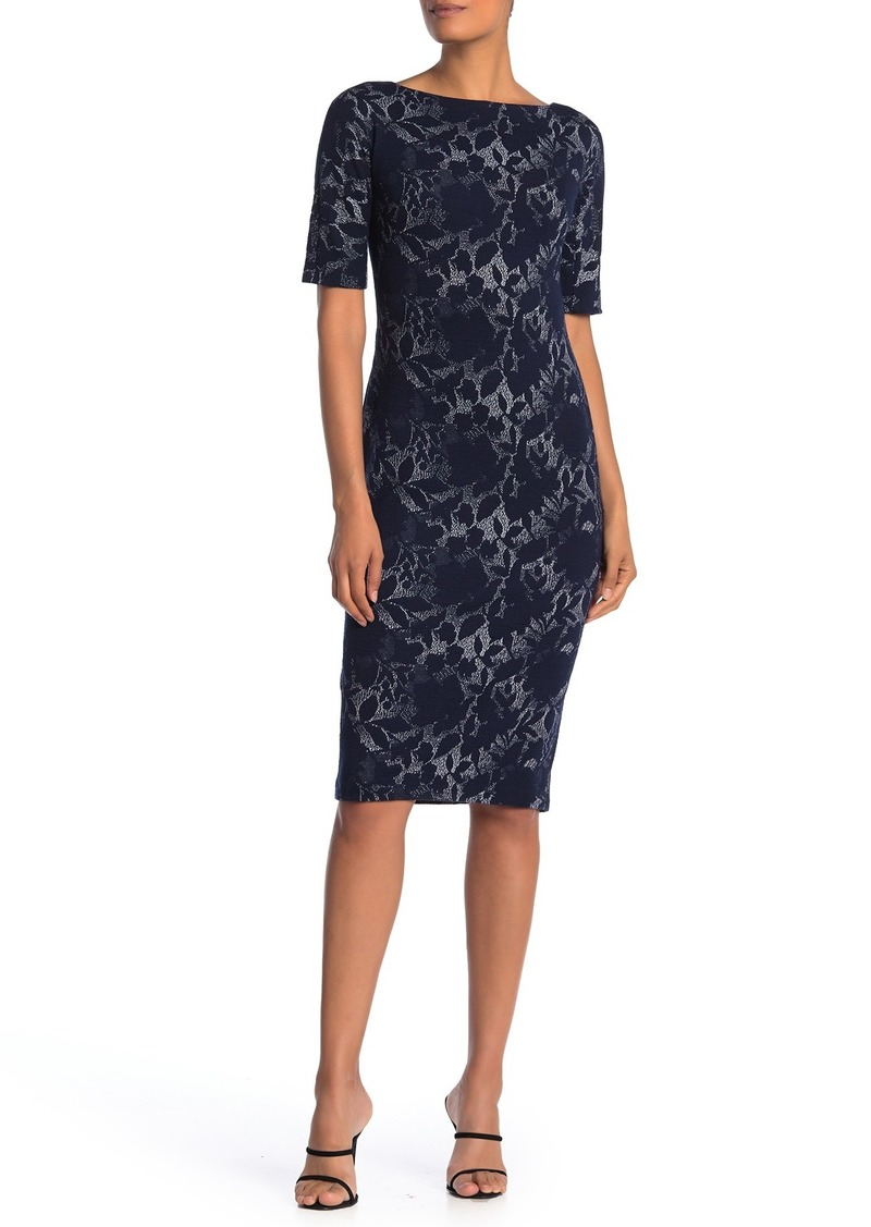 Maggy London Shadow Flower Bateau Neck Knit Dress