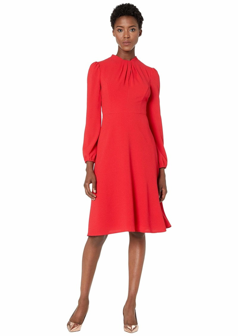 Maggy London Solid Crepe Fit and Flare Dress